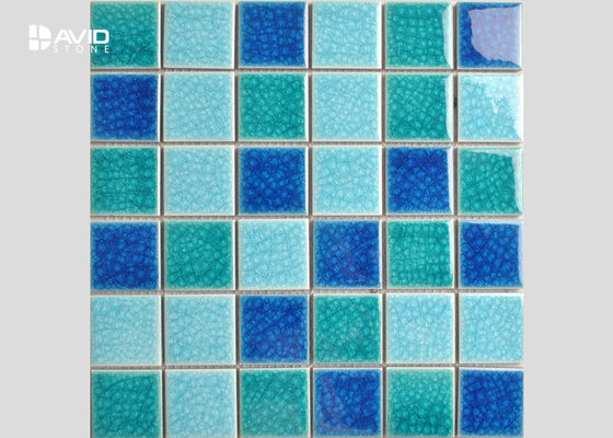 China 2 Color Assorted Ice Cracked Glass Mosaic Tile Sheets For Swimming Pool 36 Pcs supplier