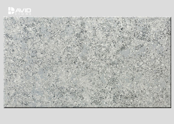 Grey Marble Quartz Stone Slab Glossy Polished For Bench / Worktop Making