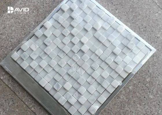 Italy Carrara Marble Mosaic Tile Sheets Abrasion Proof Irregularity Squre Shaped