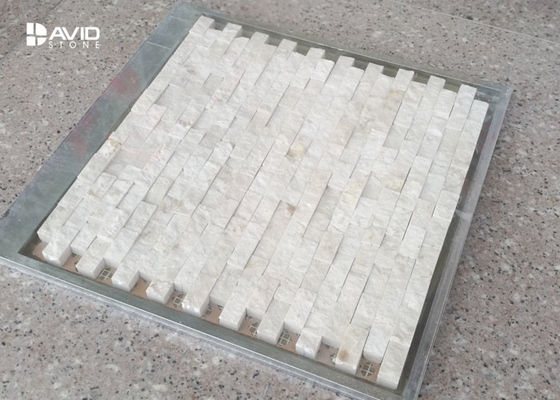 Decorative Marfil Marble Mosaic Wall Tiles For Bathroom / Kitchen Mildew Proof