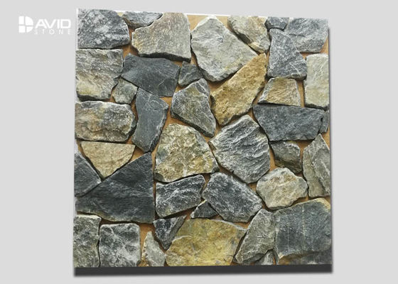 Yellow And Grey Irregular Cultured Stone Limestone For Wall Cladding Nature Surface