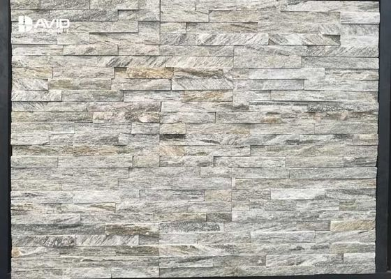 Natural Quartzite Cultured Stone Tile Grey And Beige Color Abrasion Resistance