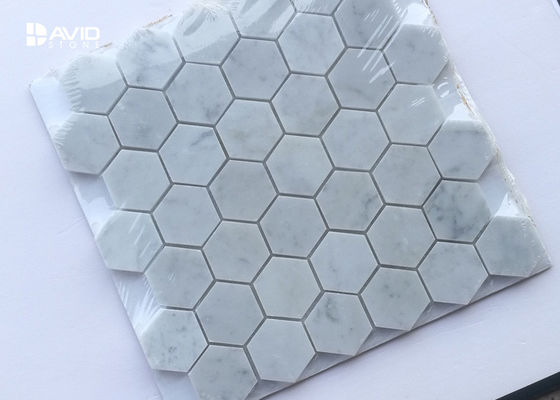 Hexagon Carrara Marble Mosaic Wall Tile 42pcs Sheet No Chemical Tight Structure