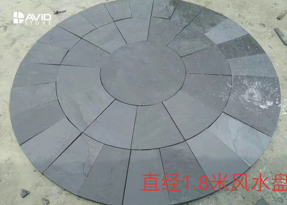 Round Grey Slate Paving Stones , Natural Garden Slate Tiles Waterproof