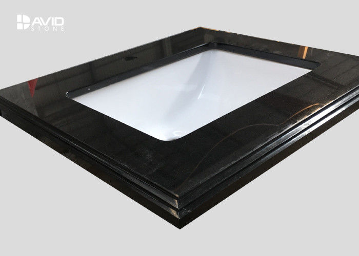 Fine Grain Black Granite Vanity Tops With Sink , 2cm Eased Laminate Vanity Top