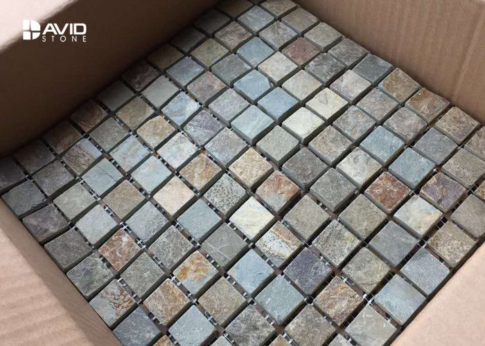121 Pcs Elegant Slate Mosaic Tile Sheets Bathroom Tiles Orted Color