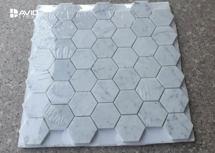 Hexagon Carrara Natural Stone Mosaic Tile Sheets For Walls And Floors Decor
