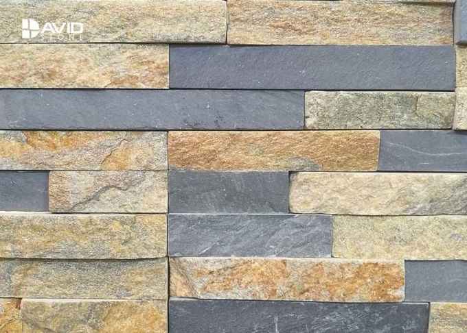 Rusty Quartzite Cultured Stone Assorted With Grey Natural Slate Cold Resistance
